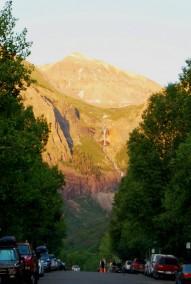 Telluride Colorado at sunset.